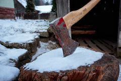 Axe in Log royalty free stock photo