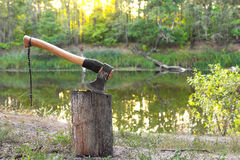 Axe in log Royalty Free Stock Image
