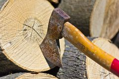 Axe and log Stock Photo