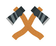 Axe logo steel isolated and sharp axe cartoon weapon icon on white Stock Photo