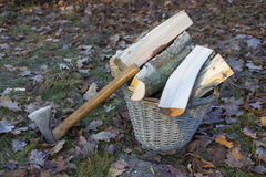 Axe and logs Stock Photography