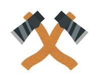 Axe o ícone isolado e afiado do aço do logotipo do machado dos desenhos animados da arma no branco Foto de Stock