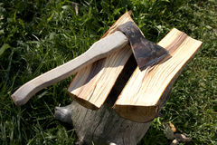 Axe with  pack for cabin Royalty Free Stock Image