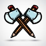Axe with pencil cartoon illustration Stock Images