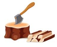 Axe Set In Chopping Block Stock Image
