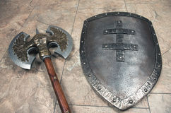 Axe and  shield close up Stock Photos