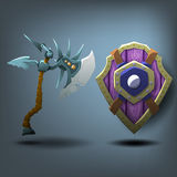 Axe and Shield. Vector illustration Royalty Free Stock Photo