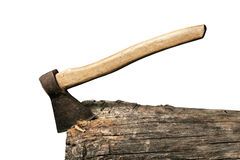 Axe sticked in the beam isolated Stock Images