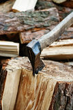 Axe sticked in the beam Stock Images