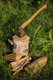 Axe sticks out of an aspen log. Stock Images