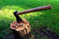 An axe on a stub stock photography