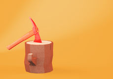 The axe stucked in the stump. Cartoon styled axe stucked in the stump on orange background. 3d rendering Stock Photos