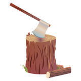 Axe on stumb  illustration. Axe on stumb cartoon  illustration. eps10 Royalty Free Stock Photo