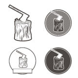 Axe on stumb silhouette set  illustration. Axe on stumb silhouette icons for logo, design emblems, templatesset.  illustration. eps10 Royalty Free Stock Image