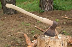 Axe in stump Royalty Free Stock Photos