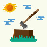 Axe and stump. Brown stump with axe. Vector illustration. Flat design. For web and applications Royalty Free Stock Image