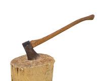 Axe in a stump chopping wood isolated Stock Photo