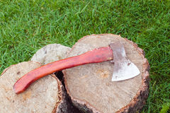 Axe on the stump. Stock Images