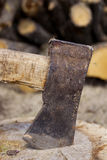 Axe in a stump Stock Image