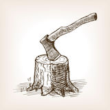 Axe in the stump hand drawn sketch style vector. Axe in the stump sketch style vector illustration. Old engraving imitation Stock Images