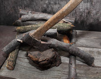 Axe in stump. Royalty Free Stock Photography