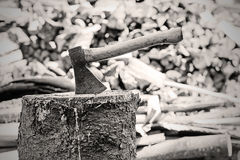 Axe in the stump royalty free stock photo