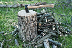 Axe in a stump. Some cut wood and twigs around, waiting to be cut Stock Images