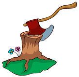 Axe in a Stump. Royalty Free Stock Image