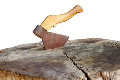 Axe thrust in a stub Royalty Free Stock Images