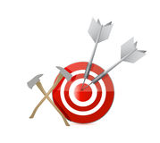 Axe tools and target illustration design Royalty Free Stock Photo