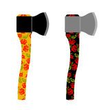Axe  traditional  Russian  pattern of colors - khokhloma. Weapon Royalty Free Stock Photo