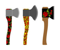 Axe  traditional  Russian  pattern of colors - khokhloma.  Stock Photo