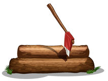 An axe and the two big woods Royalty Free Stock Photography