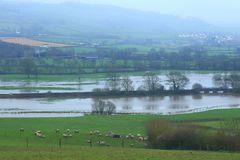 Axe Valley flooded in winter. By river Axe in East Devon stock image