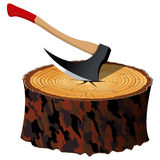 Axe and wood Royalty Free Stock Images