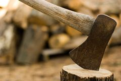 Axe & Wood Stock Photos