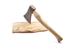 Axe on wood Royalty Free Stock Images