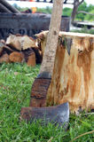 Axe and Wood Stock Images