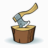 Axe and a wooden chopping block Stock Image