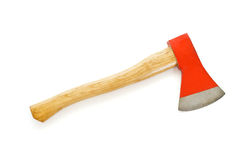 Axe with wooden handle. And red blade - isolated Royalty Free Stock Photos