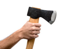Axe with wooden handle Stock Images