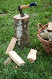 Axe and wooden trees logs after being cut on grass Royalty Free Stock Photos