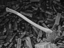 Axe and woodpile Stock Image