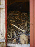 Axe and woodpile Stock Photo