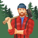 Axeman with axe in forest. Lumberman with element for woodworking Stock Images