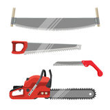 Axeman instruments set. Hand saws carpentry tools for sawing products Royalty Free Stock Photo