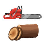 Axeman saw and stump  on white background. Gas chainsaw. And round parts of tree trunk. Realistic vector illustration of petrol-driven power saw Royalty Free Stock Photo