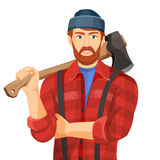 Axeman with wooden axe isolated on white background. Lumberman Stock Image