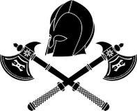 axes шлем фантазии варвара Стоковая Фотография
