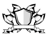 Axes badge illustration. Axes and shield badge illustration Stock Images